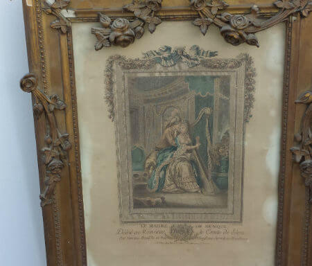 Marie Antoinette 18th Century Circa 1700s Mirror Frame and Picture