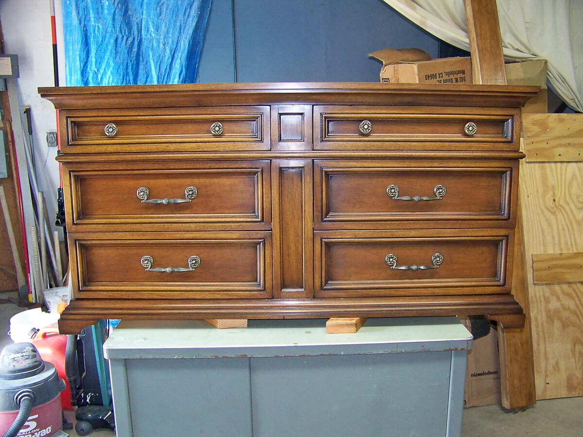 Restored Original Finish On Dresser.